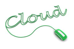 Browse the Glossy Green Cloud Cable. Modern glossy green computer mouse is connected to the shiny green word CLOUD - letters a formed by the mouse cable Royalty Free Stock Photos