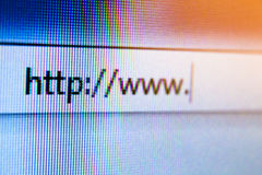 Browse the internet. Close up with a web browser Stock Image