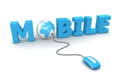 Browse Mobile - Blue Mouse. Modern blue computer mouse connected to the blue word Mobile - the letter O is replaced by a globe Royalty Free Stock Image