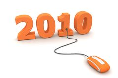 Browse the Orange New Year 2010 - Orange Mouse. Modern orange computer mouse connected to the orange date 2010 - welcome the new year Stock Photography