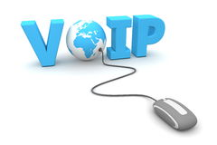 Browse the VOIP World. Modern grey computer mouse connected to a blue globe in the the blue word VOIP Royalty Free Stock Photo