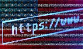 Browser address bar https://www against USA flag Stock Image