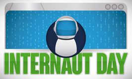 Browser with Astronaut User over Binary Code for Internaut Day, Vector Illustration Stock Photography