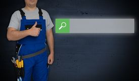 Browser concept and craftsman with thumbs up.  royalty free stock photography