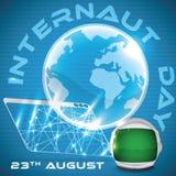 Browser, der eine Kugel und einen Astronauten Helmet für Internaut-Tag, Vektor-Illustration projektiert Lizenzfreies Stockbild
