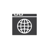 Browser and globe icon vector, filled flat sign Royalty Free Stock Image