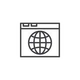 Browser and globe line icon, outline vector sign Stock Image