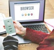 Browser het Concept van de Informatieinternet van de Inhoudsfunctionaliteit royalty-vrije stock afbeelding