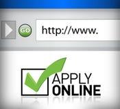 Browser het venster toont de woorden online van toepassing zijn Stock Fotografie