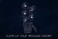 Browser history data with hourglass icons and pop-ups in the bin Stock Photography