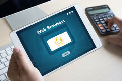Browser http man use computer Web Browsers Online Networking Con Stock Photography