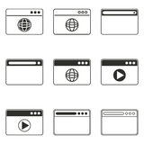 Browser icon set. Browser vector icons set. Black illustration isolated on white background for graphic and web design Vector Illustration