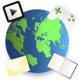 The browser icon. With icon video game consoles, envelope, open book and a games console; Internet, connection Stock Photos