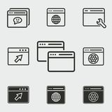 Browser icons set. Browser vector icons set. White illustration isolated for graphic and web design Royalty Free Stock Images