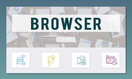 Browser-on-line-Kommunikations-Verbindungs-Konzept Stockfotografie