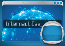 Browser with Network Design and Astronaut Helmet for Internaut Day, Vector Illustration Stock Image