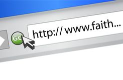 Browser search for faith on the internet. Royalty Free Stock Images