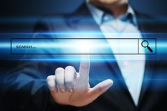 Browser van het het Commerciële van de onderzoeksbar de Technologieconcept Netwerkweb van Internet Stock Foto's