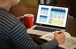 Browser van het HOMEPAGE de Globale Adres Software van het Internetwebsiteontwerp royalty-vrije stock fotografie