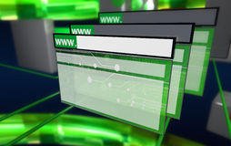 Browser van Internet in cyberspace, veelvoudenwind Royalty-vrije Stock Foto's