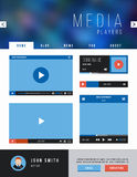 Browser web site page with video player ui interface and navigation. Vector template Royalty Free Stock Photo