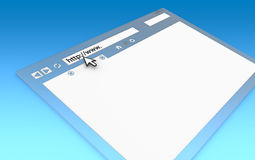 Browser Window. Perspective view of Browser Window. Transparent with blue faded background, copy space Stock Photos