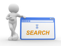 Browser window. 3d people - man, person and a browser window. Search concept Royalty Free Stock Photo