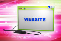 Browser window with connecting cable Royalty Free Stock Photography