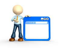 Browser window. 3d people - man, person with browser window Royalty Free Stock Photo