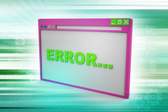 Browser window showing error Royalty Free Stock Photos