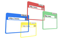Browser Windows. 4 Browser Windows, red, yellow, green, and blue. Isolated on white Royalty Free Stock Photography