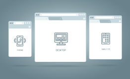 Browser Windows Responsive Web. Vector Stock Images
