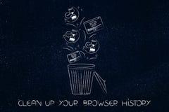 Browsergeschichtsdaten mit Sanduhrikonen und KnallUPS im Behälter Stockfotografie