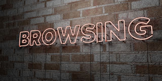 BROWSING - Glowing Neon Sign on stonework wall - 3D rendered royalty free stock illustration. Can be used for online banner ads and direct mailers Royalty Free Stock Images