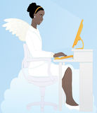 Browsing with good conscience. African woman dressed as an angel using a golden desktop computer on top of a cloud Royalty Free Stock Photo