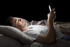 Browsing Internet Late at Night Royalty Free Stock Photo
