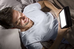 Browsing Internet Late at Night Royalty Free Stock Image