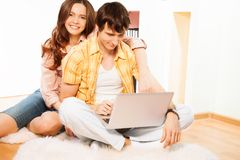 Browsing internet together Stock Image