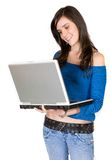 Browsing on a laptop Royalty Free Stock Photos