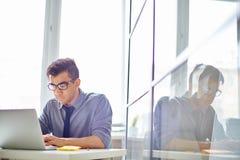 Browsing. Male employee browsing in laptop Royalty Free Stock Image