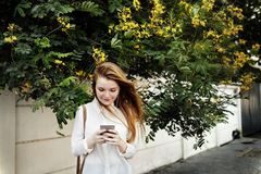 Browsing Social Media Walking Online Relax Concept Stock Images
