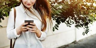 Browsing Social Media Walking Online Relax Concept Stock Photos