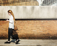 Browsing Social Media Walking Online Relax Concept Royalty Free Stock Photos