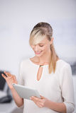 Browsing on tablet Royalty Free Stock Photo