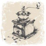 broyeur de café de vintage, cadre grunge, monochrome Ilustration de vecteur Photo libre de droits