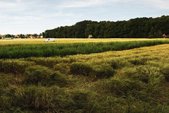 2016/07/07 Brozany nad Ohri, Czech republic - white van parked in the middle of farmers fields Royalty Free Stock Photos