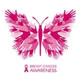 Bröstcancermedvetenhet med handfjärilstecknet och illustrationen för rosa färgbandvektor Arkivbilder