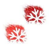 Bürsten Sie Anschlag, Aufkleber mit weißen Symbolen der Weihnachtsschneeflocke, Aufkleber für Weihnachten, Winterangebot Stockfoto