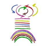 Bürstenanschlagsatz farbige Pfeile und Linien plus Regenbogen Stockfotografie
