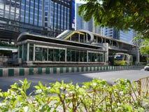 BRT Sathon station. Bangkok, Thailand-April 12, 2017:The Bangkok BRT is a bus rapid transit system in Bangkok, Thailand.The system`s island platform is accessed Stock Photo